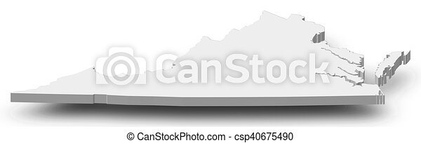 Virginia United States Map.Map Virginia United States 3d Illustration Map Of Virginia A