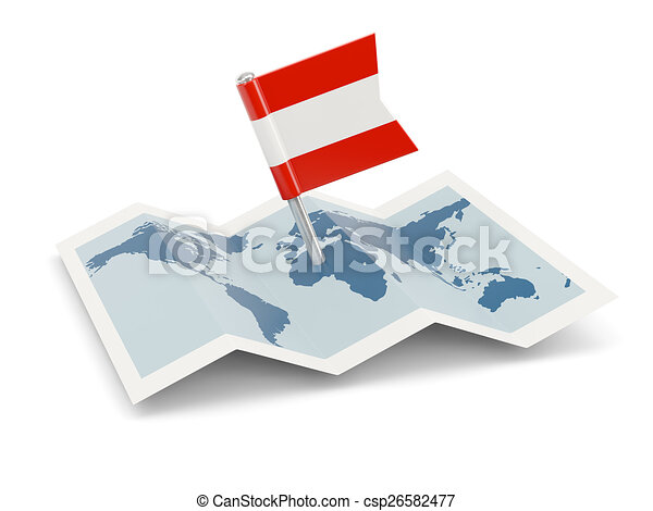 Map with flag of austria - csp26582477