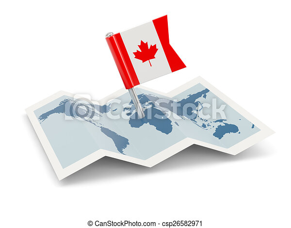 Map with flag of canada - csp26582971