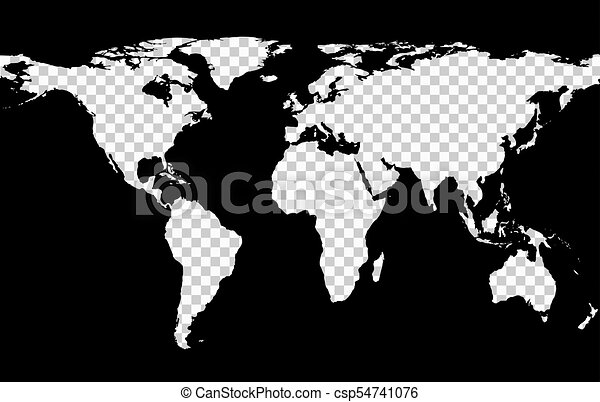 Map With Imitation Of Transparent Continents Worldwide Map With