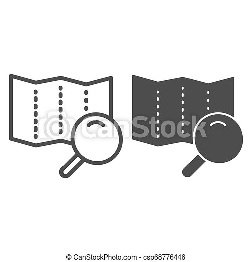 Map with lens line and glyph icon. Search road vector illustration isolated on white. Magnifier glass and map outline style design, designed for web and app. Eps 10. - csp68776446