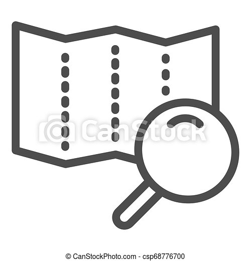 Map with lens line icon. Search road vector illustration isolated on white. Magnifier glass and map outline style design, designed for web and app. Eps 10. - csp68776700