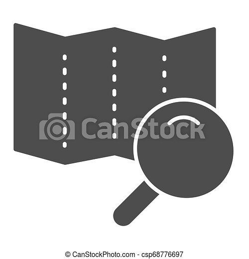 Map with lens solid icon. Search road vector illustration isolated on white. Magnifier glass and map glyph style design, designed for web and app. Eps 10. - csp68776697