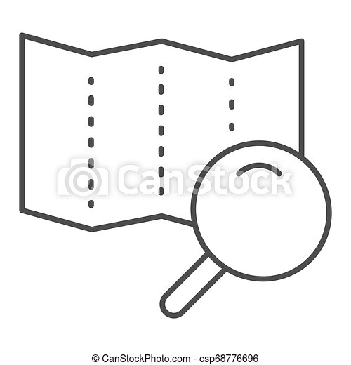 Map with lens thin line icon. Search road vector illustration isolated on white. Magnifier glass and map outline style design, designed for web and app. Eps 10. - csp68776696