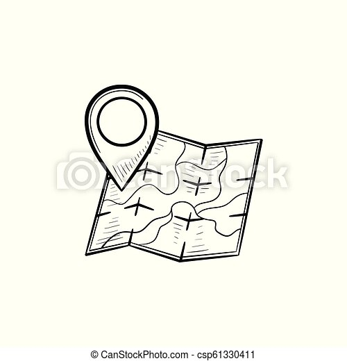 Map with location pin hand drawn outline doodle icon. Icon Direction For Map on links icon, mapquest desktop icon, schedule icon, contact icon, emergency desktop icon, map directional arrows, about us icon, maps app icon, data mapping icon, right icon, apple maps icon, map icons clip art, private party icon,