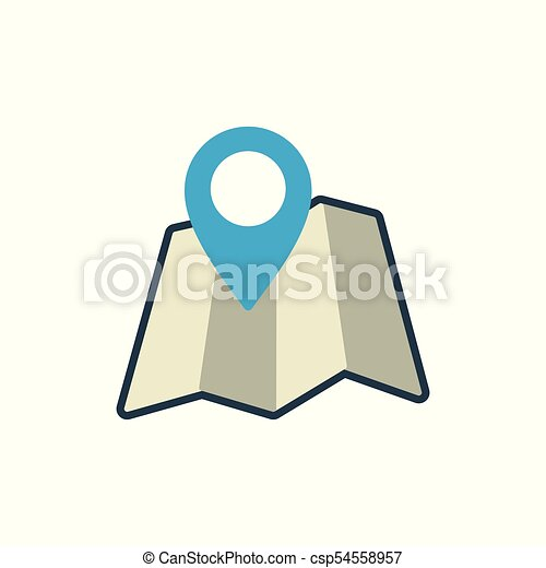 map with pin location icon on white background - csp54558957