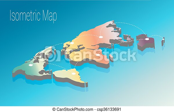 Map world isometric concept 3d flat illustration of map world map world isometric concept 3d flat illustration gumiabroncs Images