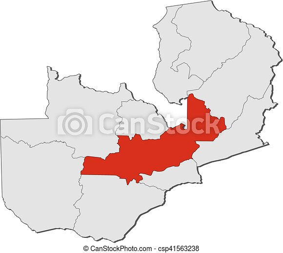 Map - zambia, central. Map of zambia with the provinces, central is ...
