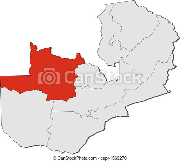 Map - zambia, north-western. Map of zambia with the provinces, north ...