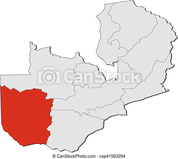 Map - zambia, western. Map of zambia with the provinces, western is ...