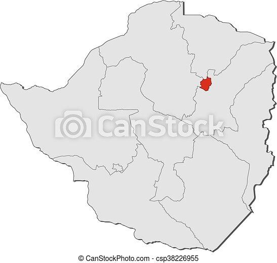 Map zimbabwe harare Map of zimbabwe with the provinces