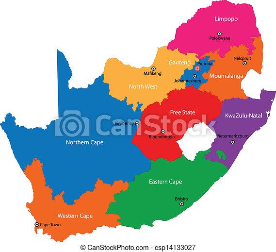 El mapa del sur de África - csp14133027