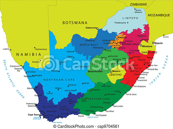 Un mapa político de Sudáfrica - csp9704561