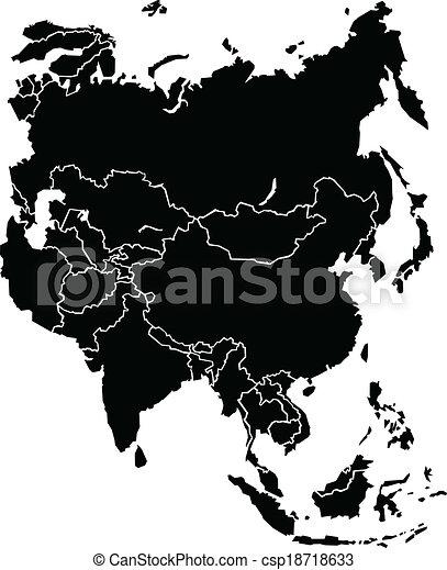 mapa, ásia - csp18718633
