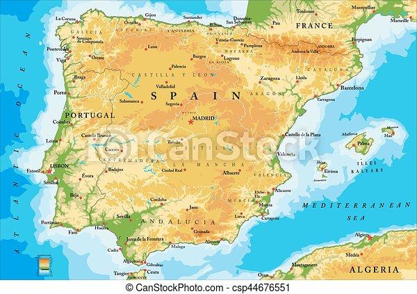 Mapa Spanelsko Fyzikalni Detailni Mapa Cely Big Vysoce