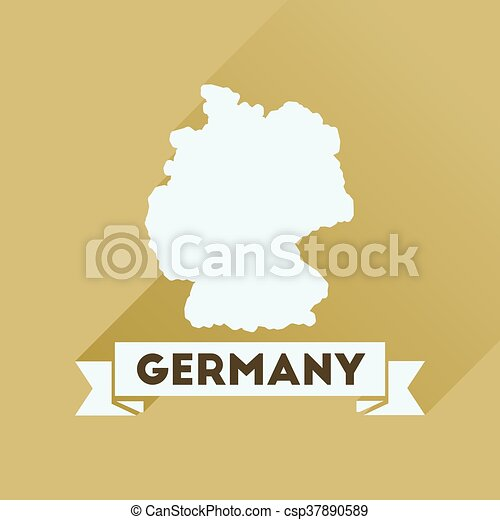 Un icono plano con un mapa alemán de larga sombra - csp37890589