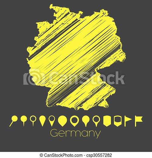 Mapa del país de Alemania - csp30557282