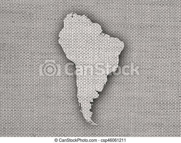 mapa, américa, antigas, sul, linho - csp46061211