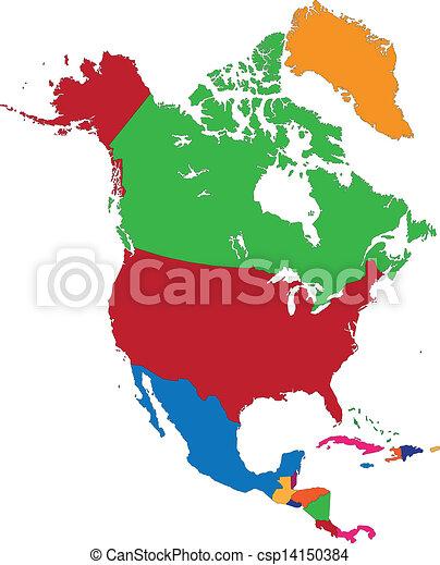 mapa, américa, norte, colorido - csp14150384