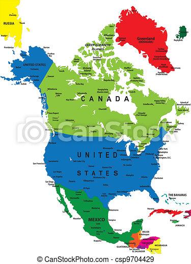 Vector Mapa America Norte Politico