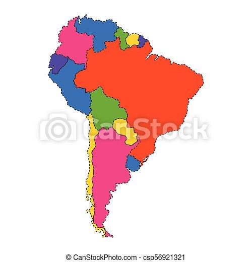 Mapa Político De Sudamérica.Un Mapa Politico De Sudamerica Diseno De Ilustracion De