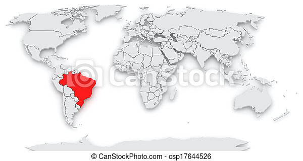 mapa, america., world. - csp17644526