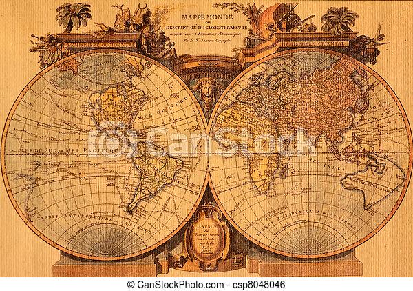 mapa, antiga, mundo - csp8048046