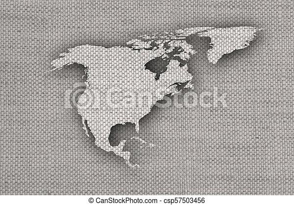 mapa, antigas, américa, norte, linho - csp57503456