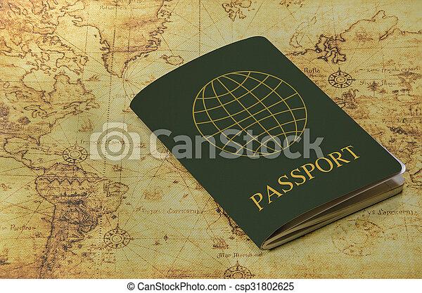 mapa, antigas, passaporte, mundo - csp31802625