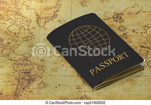 mapa, antigas, passaporte, mundo - csp31802632