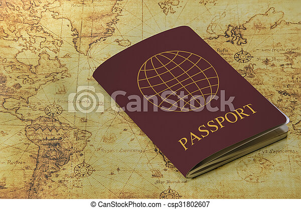 mapa, antigas, passaporte, mundo - csp31802607