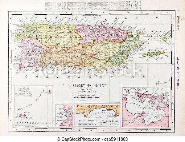 mapa antiguo, color, vendimia, rico, puerto - csp5911863