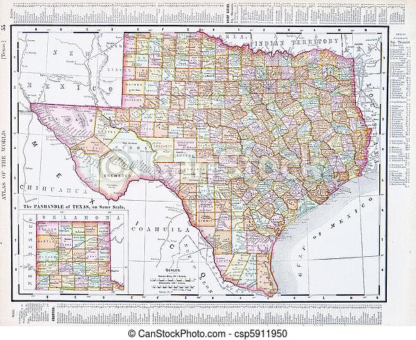 Mapa antigua de Texas, Estados Unidos TX, EE.UU - csp5911950