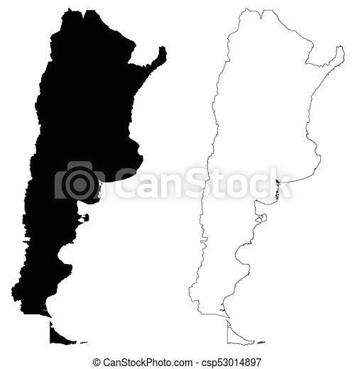 Mapa De Esquema Argentino Vector Aislado Vector Detallado Frontera Contour Mapas De Argentina En El Fondo Blanco