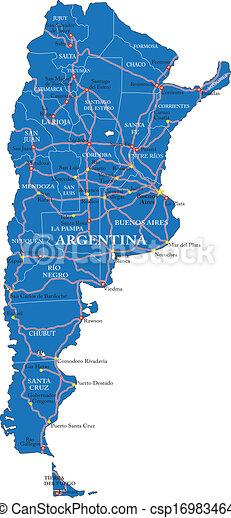 Un mapa político de Argentina - csp16983464