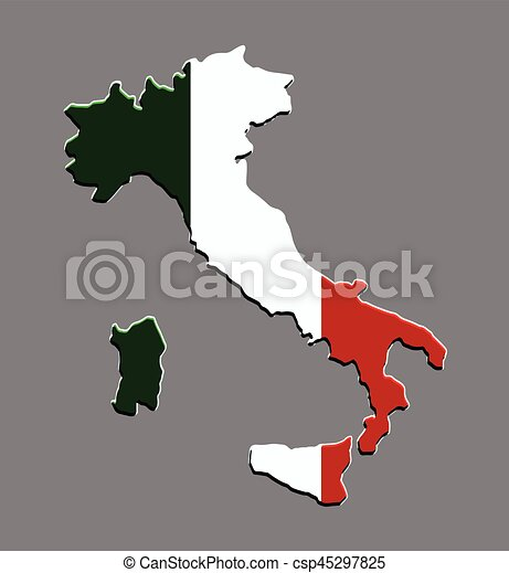 mapa, bandeira, vetorial, itália, italiano - csp45297825