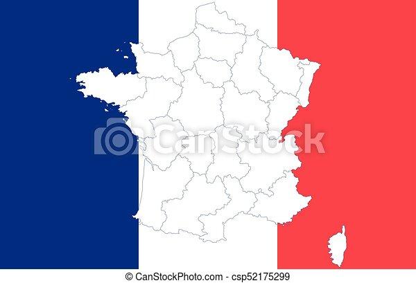 mapa, bandera, francja - csp52175299
