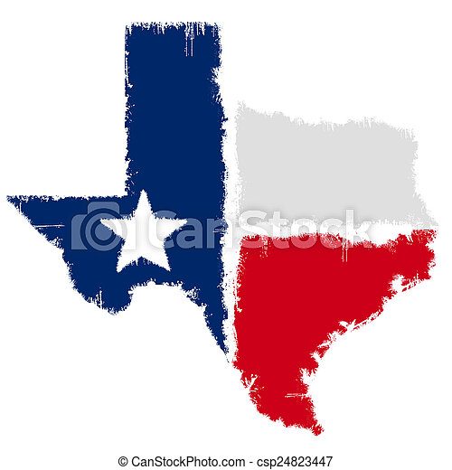 Bandera de mapa grunge de Texas - csp24823447
