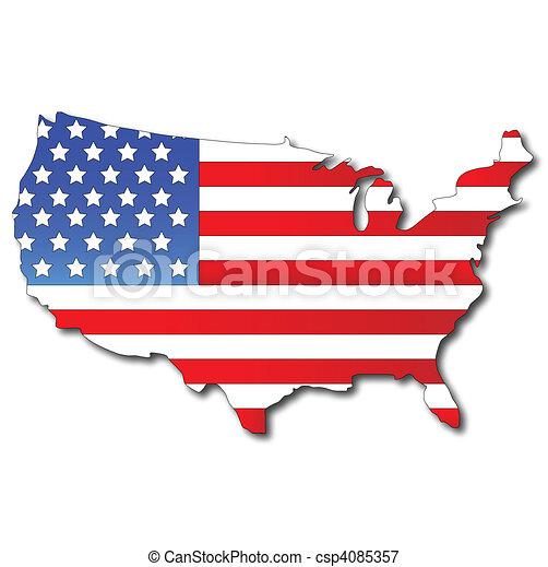 Una bandera americana en un mapa de Estados Unidos - csp4085357