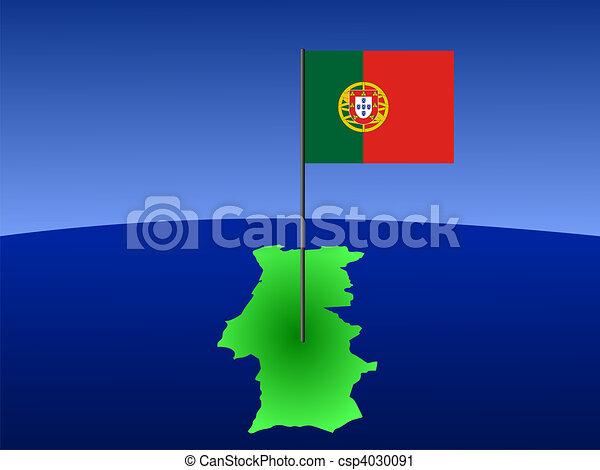 Mapa de Portugal con bandera - csp4030091