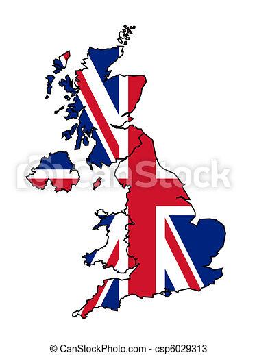 Mapa Bandera Reino Unido Reino Mapa Unido Aislado Ilustración