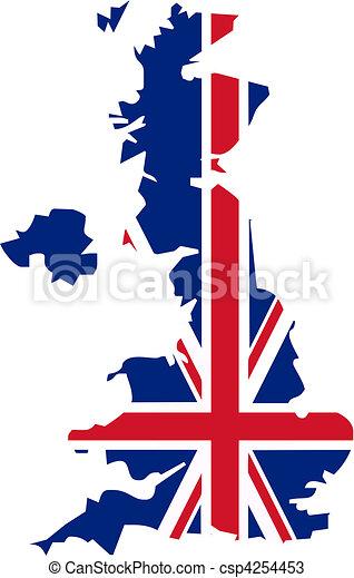 Mapa Bandera Reino Unido Y País Bandera Ilustración