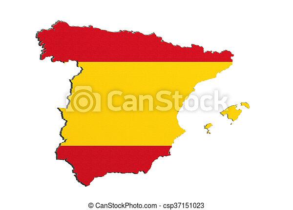 mapa, bandera, silueta, españa - csp37151023