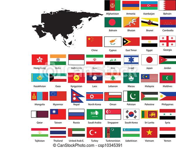 Mapa de Asia y banderas - csp10345391