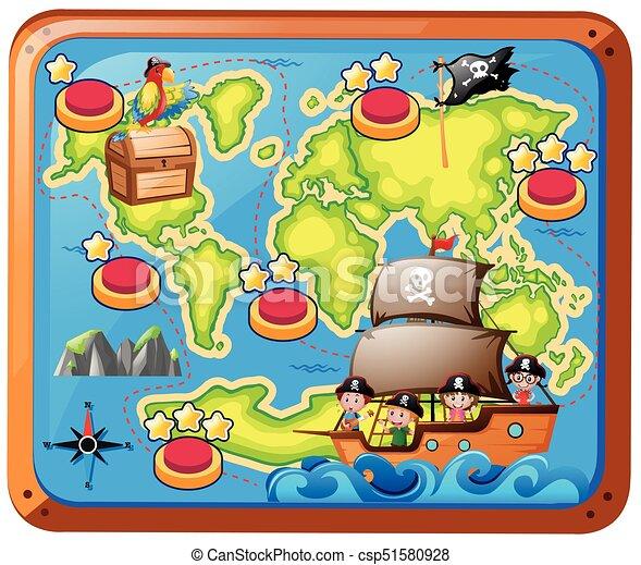 Mapa Del Tesoro Pirata Para Niños.Un Mapa Del Tesoro Con Ninos En El Barco Un Mapa Del Tesoro