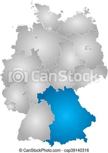 Bawaria mapa niemiec