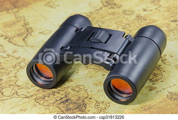 mapa, binocular, mundo velho - csp31813226