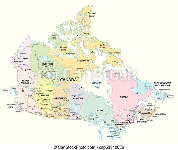 Canada Administrativo Politico Y Mapa De Carretera El Mapa