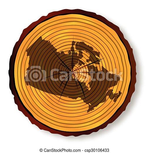 mapa canadá, seção, madeira - csp30106433
