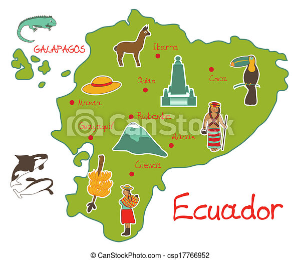 mapa, características, ecuador, típico - csp17766952